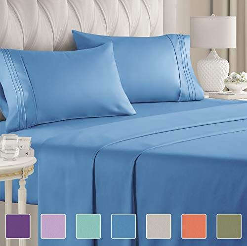 Queen Size Sheet Set - 4 Piece Set - Hotel Luxury Bed Sheets - Extra Soft - Deep Pockets - Easy Fit - Breathable & Cooling - Wrinkle Free - Comfy – Denim Blue Bed Sheets - Queens Sheets – 4 PC