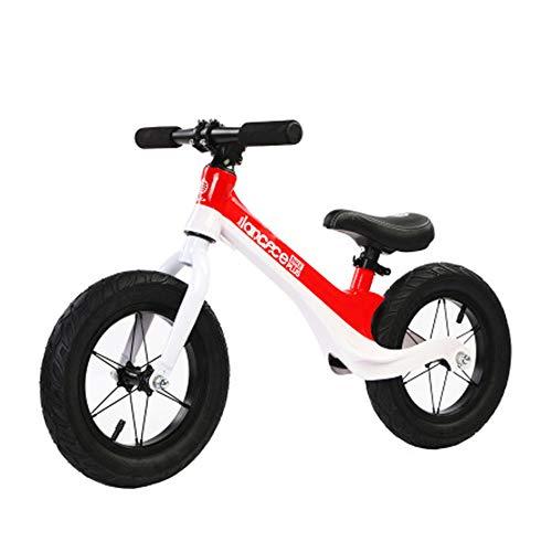 ADFDFG Equilibrio Infantil de aleación de magnesio para niños de 12 Pulgadas sin Pedal Inflable Patinaje sobre Ruedas Paso 2-6 años bebé-Red