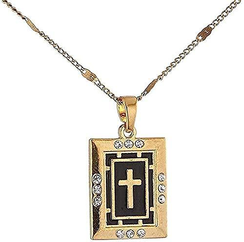 YOUZYHG co.,ltd Collar Collar Collares Cruzados de Moda Colgante de Diamantes de imitación de Color Dorado Cruz de Esmalte Negro Crucifijo Joyería de Mujer para Mujeres Hombres Collar de Regalo