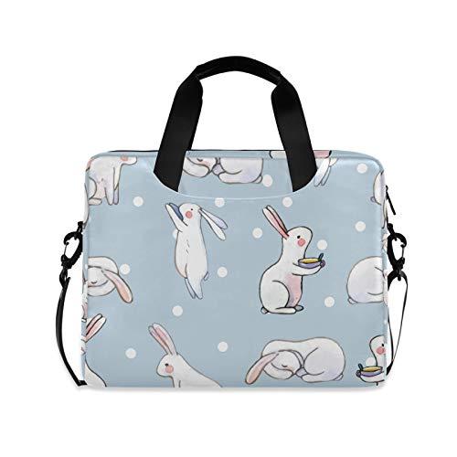 Ombra Laptop Shoulder Bag Rabbit Easter Bunny Polka Dot Portable Laptop Sleeve Case with Strap for 14/15.6/16in Notebook Computer Messenger Bag for Women Men Briefcase