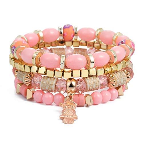3-4pcs perline di pietra avvolgono i braccialetti per le donne braccialetti e braccialetti con ciondoli a forma di nappa Set gioielli estivi Boho Pulseras Mujer Moda SL1287