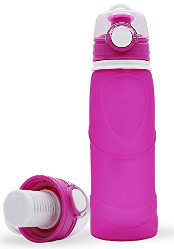 Meded My Friday Silicone Water Purifier Bottle with Active Carbon Filter, 750 ml, Collapsible, BPA Free, FDA Approved (Pink)