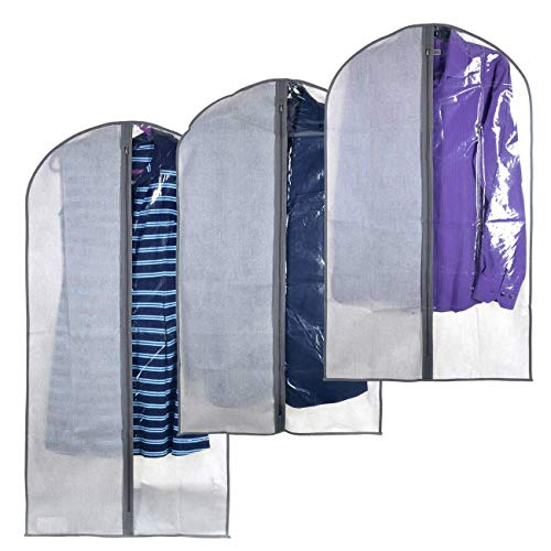 Clear Garment Bags - Perfect Garment Cover for Storage of Dresses & Suits, Linen-line Quality & Feel