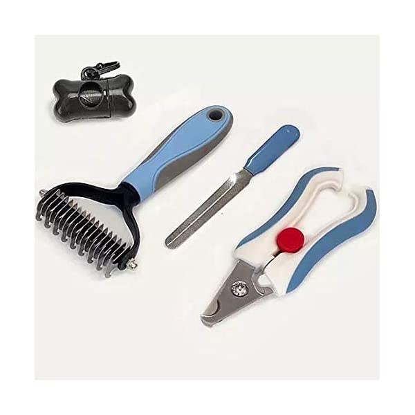 Cat/ Dog Brush for Shedding and Grooming – Kit Includes Professional Nail Clippers for Dogs – Best Detangler Brush – Double-Sided Deshedding Tool / Pet Grooming Brush – Nail Clippers for Cats