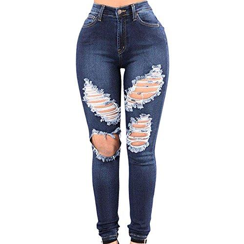 FRAUIT dames buisjeans Skinny Jean Destroyed Middelste taille jeansbroek gescheurde dunne broek