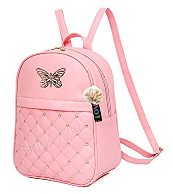 ShopyVid® PU Leather Pompom Keychain Butterfly Backpack for Girl's