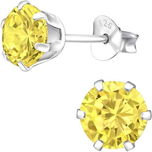 EYS JEWELRY Ohrstecker Damen rund 925 Sterling Silber Zirkonia gelb Damen-Ohrringe