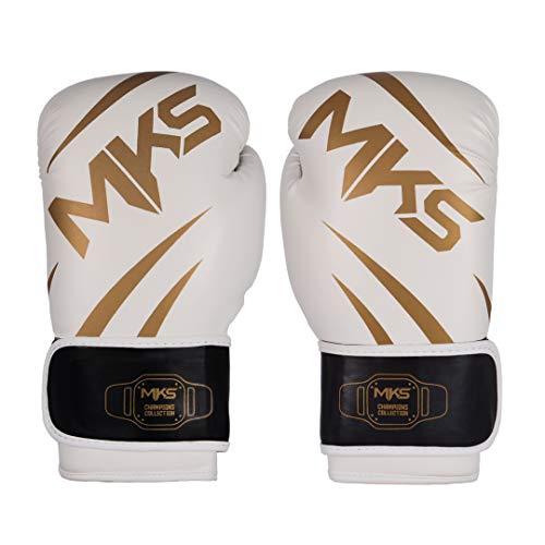 Luva de Boxe MKS Champions V3 Branco/Dourada (16 oz)