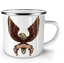 Eagle Wings Spread Enamel Mug XXX Sign Cup for Camping & Outdoors - 11 oz