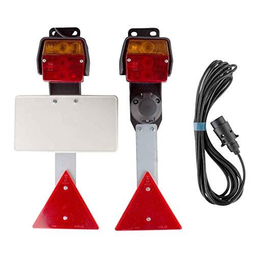 Anhänger - Beleuchtungssatz, Dreifunktionskammer, 7,5 Meter Zuleitung, mit KFZ Kennzeichenplatte und 7 Pol. Anhängerdose, Anhängerbeleuchtung