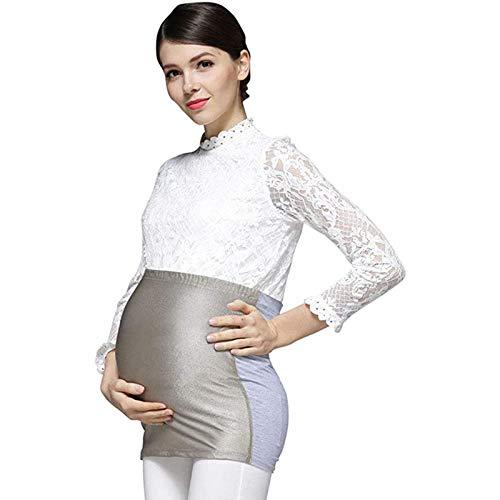 RUIXFLR Anti-Radiation Maternité Grossesse Tablier De Bouclier Réglable Bande Ventrale Costume De Rayonnement Gris Argent, XXL