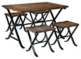 Signature Design by Ashley Freimore Dining Room Table and Stools (Set of 5), Medium Brown