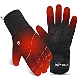 Heated Gloves Men Women,7.4V 2200MAH Electric Rechargeable Battery Gloves for Motorcycle Cycling Riding Hunting Fishing Camping Hiking Ski Snow Work Mitten Gloves Athritis Hand Warmer