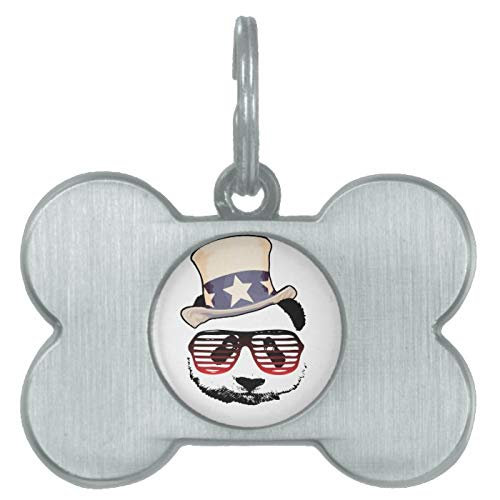 Stainless Steel Pet ID Tags, Patriotic Panda Pet Tag, Dog Tags, Cat Tags, Bone Shaped ID Tag for Dogs and Cat