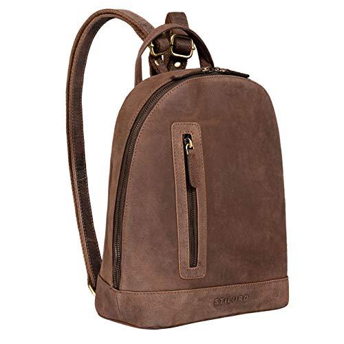 STILORD 'Reed' Mochila Pequeña de Piel Vintage Mochila Bandolera Elegante per Tableta Bolsa de Hombro Casual Backpack para Trabajo o Viaje de Cuero Genuino, Color:Veleta - marrón