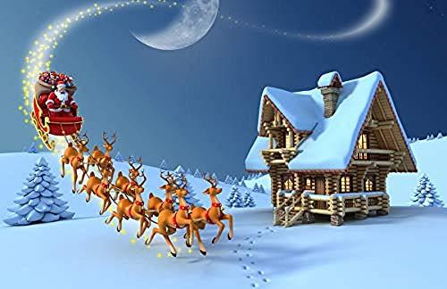 Houten puzzel 500 stukjes Volwassen klassieke 3D-puzzel Kerstman Elanden Slee en chalet Diy Moderne kunst Home Decor Uniek cadeau-53X38Cm