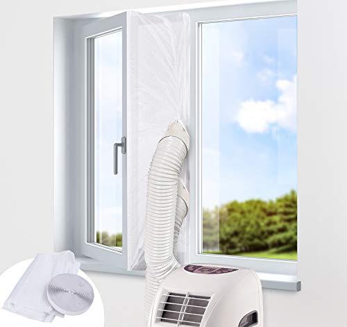 Guarnizione Universale per Finestre per Condizionatore d'aria Asciugatrice Portatile, Panno Sigillante Bianco con Doppia Cerniera Facile da Montare (300CM)