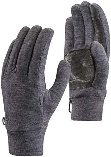 Black Diamond Gants MidWeight WoolTech - Sous-gants tactiles en laine naturelle et en polaire - Paume en cuir de chèvre / Unisexe, gris, taille XS