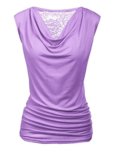 Zeagoo Women's Summer Solid V Neck Ruched Side Slim Fit Casual Tank Tops Lavender Medium