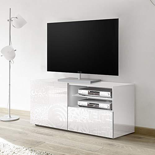 M-012 Petit Meuble TV 120 cm Blanc laqué Design ELMA
