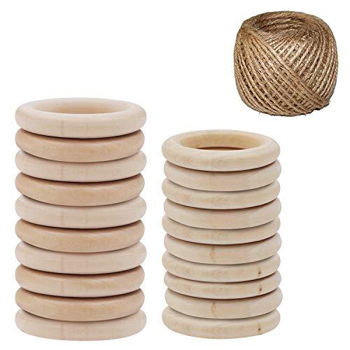 Houten Ringen (20Pak) - 10 (70mm) en 10 (55mm) Natuurlijk Houten Ringen met Juten Touw Voor DIY Hobby. Macramé, Ring Bedels en Connectors Sieraden Maken