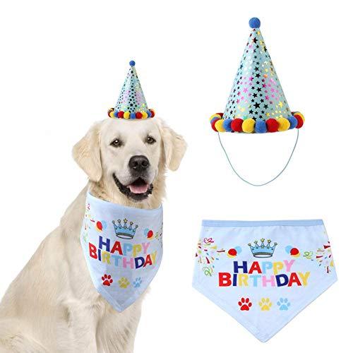 Kitabetty Sombrero de fiesta de cumpleaños para perros, bufanda de triángulo, saliva,...