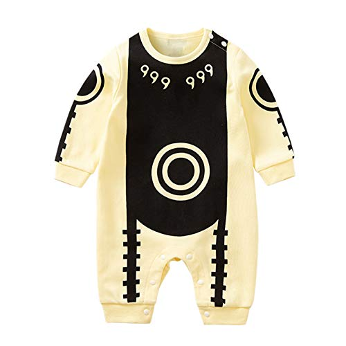 RELABTABY Cute Baby Boy Girl Romper Newborn Anime Uchiha Obito Onesie Toddler Halloween Cosplay Jumpsuit Outfit Clothes Yellow