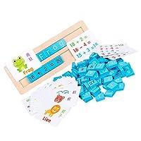 jojofuny 1セットの木製数字文字クラフトアルファベットブロックマッチングパズルステムおもちゃモンテッソーリ教育学習おもちゃ2?3歳の子供幼児が遊ぶ