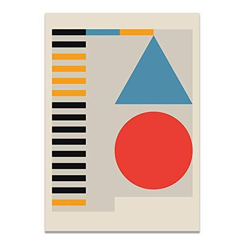 Exposición Bauhaus Diseño arquitectónico Arte abstracto Línea geométrica Círculo Lienzo Pintura Arte de la pared Póster Sala de estar Estudio Oficina Decoración para el hogar Mural