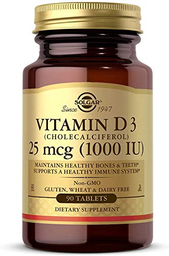 Solgar Vitamin D3 (Cholecalciferol) 1000 IU (25 µg) Tablets - Pack of 90