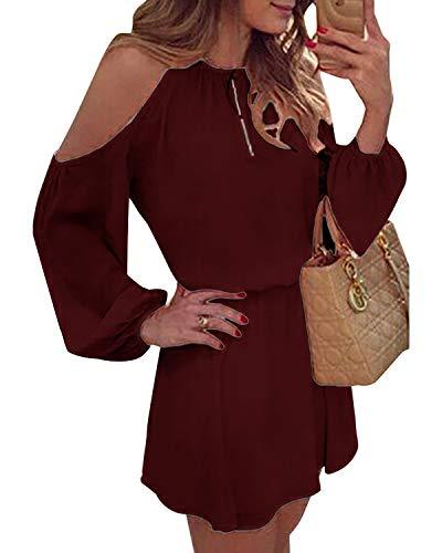 YOINS Sommerkleid Damen Kurz Schulterfrei Kleid Elegante Kleider für Damen Strandmode Langarm Neckholder A Linie Rotwein S