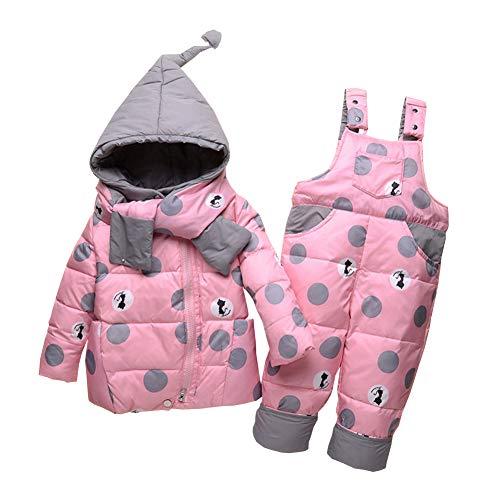 LSHEL Schneeanzug Baby Daunenjacke & Daunenhose Mädchen Jungen Süß 2tlg Winter Bekleidungsset, Rosa, 104-110(Empfohlene Höhe: 95-105cm)