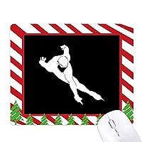 ブラックウィンタースポーツのシルエットのスケート ゴムクリスマスキャンディマウスパッド