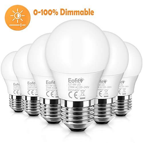 Eofiti Bombilla LED E27 Regulable, 6W E27 LED Blanco Calido 2700K Equivalente a Halogeno 50W Luz 600LM LED Bajo Consumo Luz E27 maíz 230V Excelente Ra82 360 °Ángulo de Haz Pack de 6