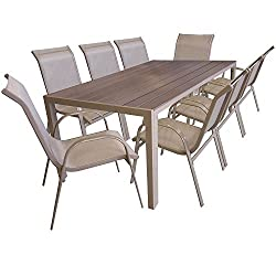 Multistore 2002 9er Garden set Aluminum garden table with polywood table top, 205x90cm, stacking chair powder-coated with textile covering, garden furniture set