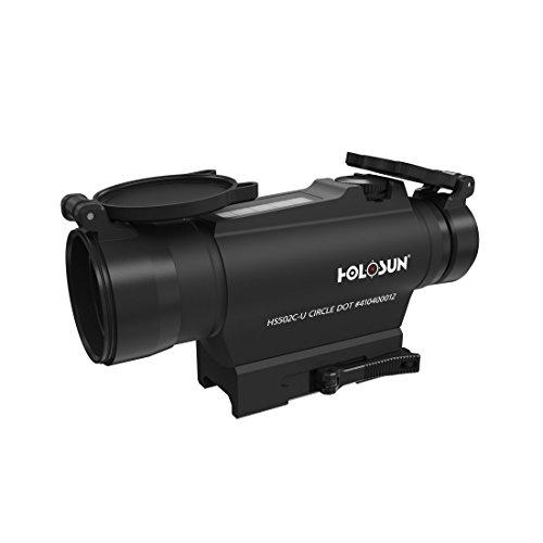 Holosun HS502C-U Tube Reflexvisier Rotpunkt, wechselbares 2MOA Punkt, 65MOA Kreis Absehen, Solarzelle, Picatinny/Weaver QD-Montage, Jagd, Sportschießen, Softair, Tactical tu… - 70127300