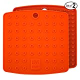 Premium Silicone Pot Holders for Kitchen - Easy to Clean Trivets for Hot Pots and Pans - This Kitchen Tool Works Well as Silicone Trivet, Hot Pads for Oven, Potholders (7x7 in, Gray, 1 Pair)