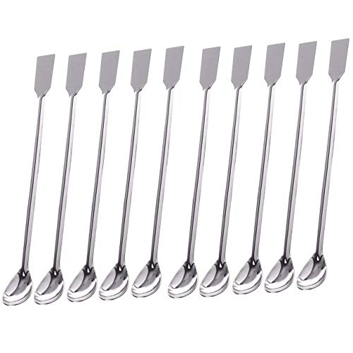 Sunnyglade 10PCS 2 in 1 Stainless Steel Lab Spoon Spatula/Laboratory Sampling Spoon Mixing Spatula