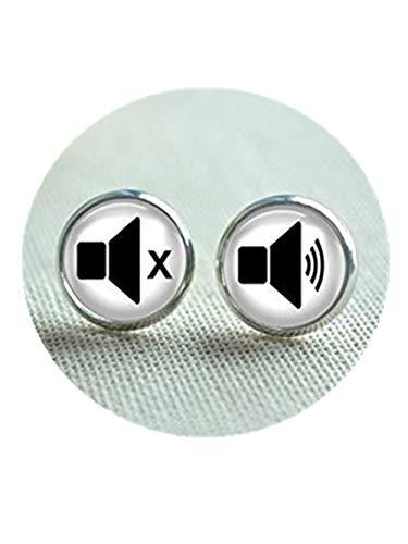 Pendientes de tuerca con iconos de volumen, sonido y volumen de altavoz,...