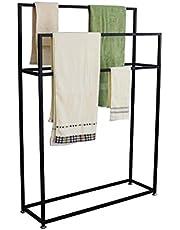 Wing Vrijstaande handdoekenrekken, metalen handdoekenrek voor badkamer, zwarte handdoekhouder, roestbestendig, eenvoudig te monteren