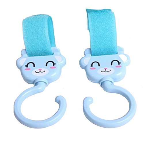 Lovely bébé Poussette Crochets, sourire, visage, Lot de 2, Bleu (14*5 cm)
