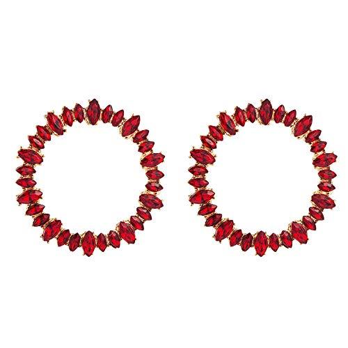 Pendientes de moda para mujer con forma de círculo grande, aleación con incrustaciones de pedrería, 4,5 cm de rojo