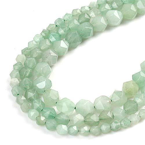Natural verde aventurina superficie dividida facetada cuentas de piedra suelta espaciador perlas 15 pulgadas Strand 6/8/10 mm para hacer joyas DIY pulsera otros 8mm 46pcs cuentas