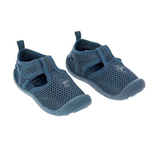 LÄSSIG Baby Kinder Badeschuhe Strandschuhe Schwimmschuhe Atmungsaktiv Anti-Rutsch Sohle Klettverschluss/Beach Sandals Navy, Größe:25, blau, 180 g