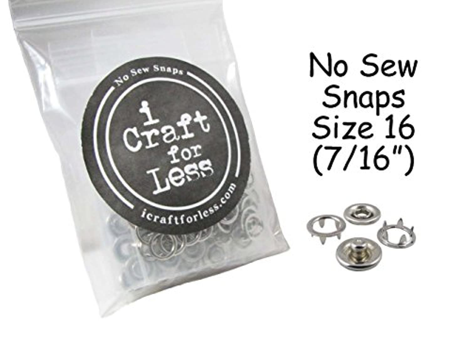 50 SETS - OPEN RING PRONG NO SEW SNAP FASTENERS (200 Pieces) - SIZE 16 (7/16
