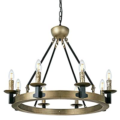 """Wellmet 8-Light Large Rustic Farmhouse Wagon Wheel Chandelier, 28"""" Antique Brass Round Kitchen Island Light, Industrial Chandelier Lighting Candle Style House Dining Room Entryway Bedroom"""