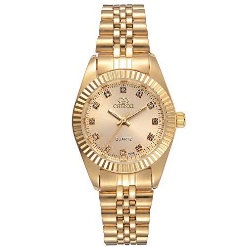 WZFCSAE Luxury Ladies Gold Watch Donne Orologio Dorato Femminile Donne Abito Strass Quarzo Orologi Impermeabili Femminile, Quadrante Dorato