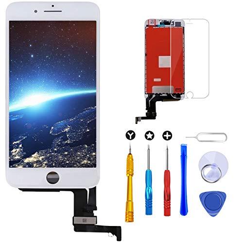 Brinonac Pantalla para iPhone 8 Plus, 5.5' Táctil LCD de Repuesto Ensamblaje de Marco Digitalizador con Herramienta de reparación y Protector de Pantalla (Blanco)