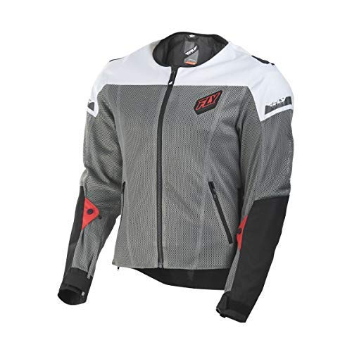 FLY Racing Flux Air Mesh Jacket, Motorcycle Jacket for Men and Women (BLACK/WHITE, Large)