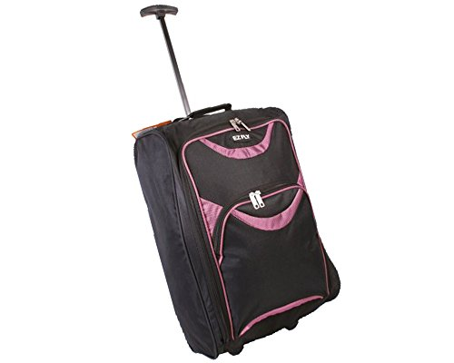 New Look EZ FLY Flight Approved Feather Light Weight Cabin Carry On Hand Luggage Roller Suitcase Bag Wheeled Trolley Perect for Easyjet Ryanair Thomas Cook Handbags (One Size, Black/Pink)